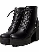 abordables -Femme Chaussures Polyuréthane Hiver Confort / boîtes de Combat Bottes Talon Bottier Bottes Mi-mollet Blanc / Noir / Bleu