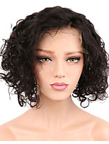 cheap -Remy Human Hair Full Lace Wig Brazilian Hair Curly Short Bob 130% Density Natural Hairline / With Bleached Knots Women's Short Human Hair Lace Wig