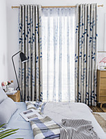 cheap -Two Panel Korean Pastoral Style Leaf Printing Blackout Curtains For Living Room Bedroom Dining Room Children's Room Curtains