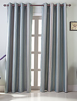 cheap -Blackout Curtains Drapes Bedroom Color Block / Stripe / Contemporary Polyester Jacquard