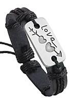 Недорогие -Муж. Кожаные браслеты - Кожа Классический, Мода Браслеты Черный / Кофейный Назначение Официальные / Для улицы