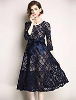 economico -Per donna Vintage / sofisticato Linea A / Swing Vestito - Pizzo, Tinta unita Medio