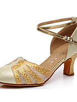 cheap -Women's Modern Shoes Paillette / PU Heel Performance / Practice Stiletto Heel Dance Shoes Gold / Silver / Navy