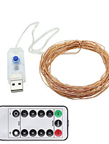 Недорогие -10 м Гирлянды 100 светодиоды 1 пульт дистанционного управления Keys Тёплый белый / Холодный белый USB / Декоративная Работает от USB 1