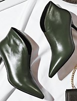 cheap -Women's Shoes Cowhide Fall Bootie Boots Stiletto Heel Booties / Ankle Boots for Casual Black Dark Green