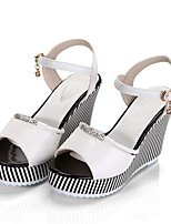 cheap -Women's Shoes PU(Polyurethane) Summer Comfort Heels Wedge Heel White / Black