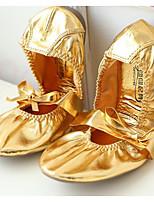cheap -Women's Jazz Shoes PU Flat Performance / Practice Flat Heel Dance Shoes Gold