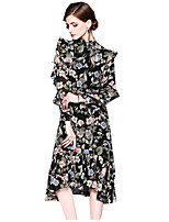 cheap -SHE IN SUN Women's Chinoiserie Puff Sleeve Sheath Dress - Geometric Ruffle / Print