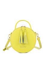 cheap -Women's Bags Genuine Leather Shoulder Bag Zipper / Tassel Black / Blushing Pink / Yellow