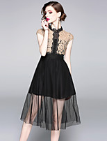 cheap -SHIHUATANG Women's Street chic / Sophisticated A Line Dress - Color Block Lace / Mesh