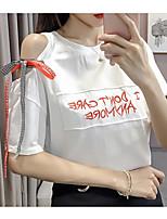 economico -T-shirt Per donna Per uscire / Fine settimana Alfabetico Cotone / Cotone / Per uscire / Alfabetico