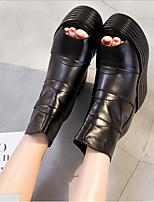cheap -Women's Shoes Cowhide Nappa Leather Summer Comfort Boots Wedge Heel for Casual Black