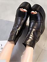 preiswerte -Damen Schuhe Leder Nappaleder Sommer Komfort Stiefel Keilabsatz für Normal Schwarz