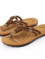 cheap -Men's Shoes PU Summer Comfort Slippers & Flip-Flops for Outdoor Black Dark Brown