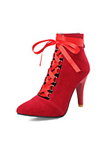 cheap -Women's Shoes Leatherette Summer Comfort Boots Stiletto Heel Pointed Toe for Outdoor Black / Red