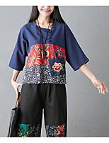 economico -T-shirt Per donna Vintage Nappa, Tinta unita Nero e rosso