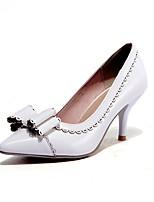 abordables -Femme Chaussures Similicuir Printemps été Escarpin Basique Chaussures à Talons Talon Aiguille Bout pointu Noeud Blanc / Noir / Vert