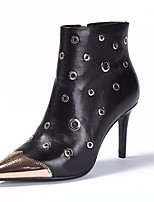 baratos -Mulheres Sapatos Pele Pele Napa Outono Inverno Botas da Moda Botas Salto Agulha Botas Curtas / Ankle para Casual Preto