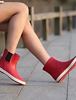 Недорогие -Жен. Обувь Латекс Весна Резиновые сапоги Ботинки На плоской подошве для Черный / Лиловый / Красный
