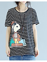 cheap -Women's Vintage T-shirt - Solid Colored / Striped Blue & White, Tassel