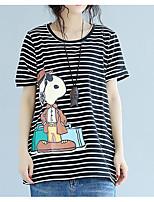 economico -T-shirt Per donna Vintage Nappa, Tinta unita / A strisce Blu e bianco
