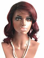 Недорогие -Remy Лента спереди Парик Бразильские волосы / Естественные волны Волнистый Короткий Боб 130% плотность Короткие Жен. Парики из