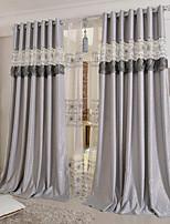 baratos -Cortinas cortinas Quarto Floral 100% Poliéster Bordado