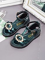 cheap -Girls' Shoes PU Summer Comfort / Flower Girl Shoes Sandals Walking Shoes Pearl / Buckle for Toddler / Infant White / Green
