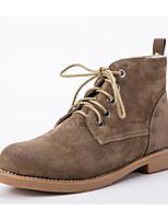 baratos -Mulheres Sapatos Pele Inverno Conforto / Coturnos Botas Salto Baixo Botas Curtas / Ankle Preto / Camel