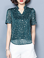 cheap -women's going out blouse - solid colored crew neck