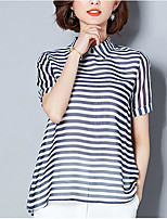 cheap -Women's Vintage T-shirt - Striped Black & White, Tassel