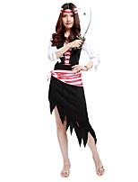 cheap -Pirates of the Caribbean Outfits Unisex Halloween / Carnival / Day of the Dead Festival / Holiday Halloween Costumes Black Solid Colored
