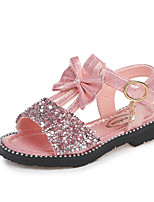 cheap -Girls' Shoes Leather Spring & Summer Comfort Sandals Sequin / Buckle for Gold / Silver / Pink