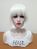 cheap -Synthetic Wig Straight Bob Haircut With Bangs Medium Size Women White Women's Capless Cosplay Wig Mid Length Synthetic Hair Special