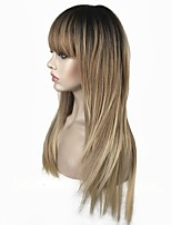 cheap -Synthetic Wig Straight Layered Haircut Synthetic Hair 100% kanekalon hair Blonde Wig Women's Long Natural Wigs / Celebrity Wig Capless