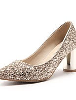 cheap -Women's Shoes Paillette Spring Comfort Heels Chunky Heel Pointed Toe Sequin Gold / Silver / Red / Party & Evening