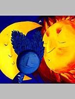 Недорогие -Hang-роспись маслом Ручная роспись - Абстракция / Мультипликация Современный холст