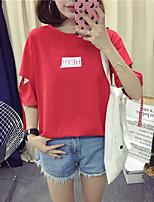 economico -T-shirt Per donna Attivo / Essenziale Con stampe, Tinta unita / Alfabetico
