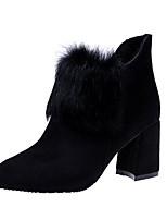 Недорогие -Жен. Обувь Бархатистая отделка Наступила зима Армейские ботинки Ботинки На толстом каблуке Заостренный носок Черный