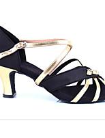 Недорогие -Жен. Обувь для латины Шёлк На каблуках Выступление / Тренировочные На шпильке Танцевальная обувь Черный и золотой / Кожа