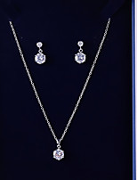 cheap -Women's Cubic Zirconia Jewelry Set - Ball Simple, Fashion Include Drop Earrings / Pendant Necklace White For Wedding / Birthday