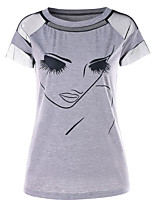 cheap -Women's Basic / Street chic T-shirt - Portrait Print / Patchwork