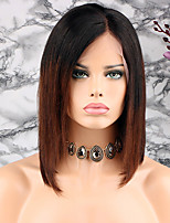cheap -Remy Human Hair Lace Front Wig Peruvian Hair Straight Short Bob / Bob Haircut 130% Density Soft / Silky / With Bleached Knots Brown Short