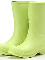 Недорогие -Жен. Обувь ПВХ Весна лето Резиновые сапоги Ботинки Для прогулок На плоской подошве Сапоги до середины икры Черный / Кофейный /