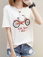 cheap -Women's Basic T-shirt - Geometric Letter Print