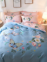 cheap -Duvet Cover Sets Floral / Geometric 100% Cotton Printed 4 Piece