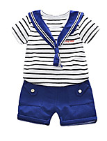 cheap -Kids / Toddler Boys' Striped / Patchwork Short Sleeve Clothing Set