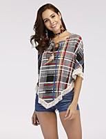 Недорогие -Жен. С кисточками / Кружевная отделка Рубашка Контрастных цветов / В клетку