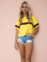 cheap -Women's Basic T-shirt - Solid Colored / Color Block Patchwork