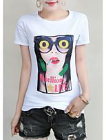 economico -T-shirt Per donna Tinta unita / Fantasia geometrica / Alfabetico Cotone